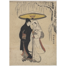 鈴木春信: Young Lovers Walking Together under an Umbrella in a Snow Storm (Crow and Heron) - メトロポリタン美術館