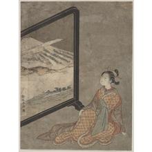 鈴木春信: Young Woman with a Pipe in Her Hand Gazing at Landscape Painted on a Screen - メトロポリタン美術館