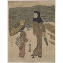 鈴木春信: Lady with Black Hood and Umbrella Out Walking with Young Attendant - メトロポリタン美術館