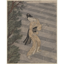 Suzuki Harunobu: Young Woman Climbing Stone Stairs to a Shinto Temple - Metropolitan Museum of Art