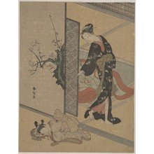 鈴木春信: Young Lady Looking through Door at Her Kamuro (Little Servant) who is Asleep on the Floor - メトロポリタン美術館