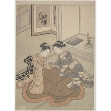 Suzuki Harunobu: Two Young Women Seated by a Kotatsu Playing Cat's Cradle - Metropolitan Museum of Art