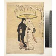Suzuki Harunobu: Lovers Walking in the Snow (Crow and Heron) - Metropolitan Museum of Art
