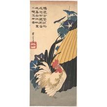 Utagawa Hiroshige: Rooster, Umbrella, and Morning Glories - Metropolitan Museum of Art