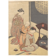 鈴木春信: Night Rain at the Double-Shelf Stand, from the series Eight Parlor Views (Zashiki hakkei) - メトロポリタン美術館