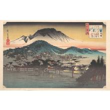 歌川広重: Vesper Bell at Mii Temple, Lake Biwa - メトロポリタン美術館