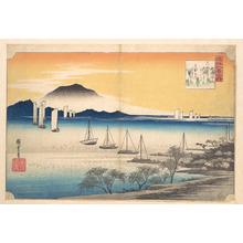 歌川広重: Sailing Boats Returning to Yabase, Lake Biwa - メトロポリタン美術館