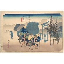 歌川広重: Morning Mist at Mishima - メトロポリタン美術館