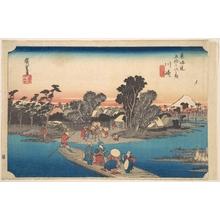 歌川広重: Ferry Boat Crossing the Rokugo River - メトロポリタン美術館