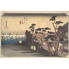 歌川広重: Tiger Rain at Ôiso Station - メトロポリタン美術館