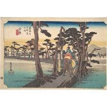 歌川広重: Yoshiwara, Hidari Fuji - メトロポリタン美術館