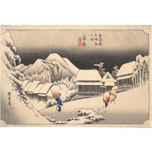 歌川広重: A Snowy Evening at Kambara Station - メトロポリタン美術館