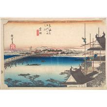 歌川広重: Yoshida, Toyokawa Hashi - メトロポリタン美術館
