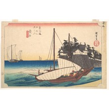 歌川広重: Station Forty-Three: Kuwana, Seven-Ri Ferry at the Port, from the Fifty-Three Stations of the Tokaido - メトロポリタン美術館
