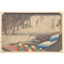 歌川広重: Spring Rain at Tsuchiyama (50th Station of the Tôkaidô) - メトロポリタン美術館
