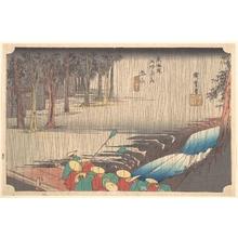 歌川広重: Spring Rain at Tsuchiyama (50th Station of the Tôkaidô) - メトロポリタン美術館
