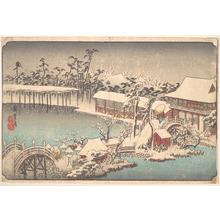 歌川広重: Kameido Tenmangu Keidai no Yuki - メトロポリタン美術館
