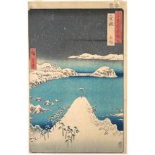 歌川広重: Snowfall at Shimasaku, Iki Province, from the series Views of Famous Places in the Sixty-Odd Provinces - メトロポリタン美術館