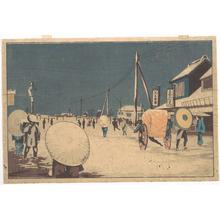 小林清親: Street Scene in the Outskirts of Edo on an Evening in Winter - メトロポリタン美術館
