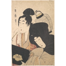 Kitagawa Kikumaro: Young Woman at Night accompanied by a Servant Carrying a Lantern and a Shamisen Box - メトロポリタン美術館