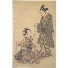 鳥居清廣: Woman Seated Holding a Cat - メトロポリタン美術館