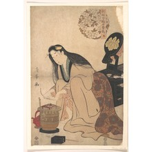 二代目鳥居清満: Lady Arranging Binsashi (Support for the Hair over the Temples) to put in Her Hair - メトロポリタン美術館