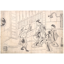 鳥居清倍: The Actor Ichimura Takenojo VIII in the Role of a Puppeteer, showing Puppets to a Courtesan - メトロポリタン美術館