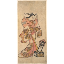 鳥居清倍: Sanjô Kantarô as a Woman Arranging Her Hair Before a Lacquer Mirror - メトロポリタン美術館