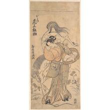 鳥居清満: The Actor Onoe Matsusuke in the Role of the Famous Strong Woman Okane - メトロポリタン美術館