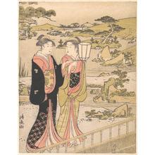 鳥居清長: Two Women in a Garden - メトロポリタン美術館