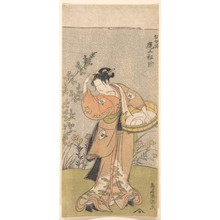Torii Kiyomitsu: The Actor Onoya Matsusuke, in Female Robe of O-Kane, Adjusts the Comb in His Hair - Metropolitan Museum of Art