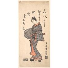 鳥居清満: Sanokawa Ichimatsu I in Grayish Blue and Rose Walking Toward the Left - メトロポリタン美術館