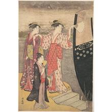 鳥居清長: Disembarking from a Pleasure Boat on the Sumida River - メトロポリタン美術館