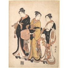 Torii Kiyonaga: Three Young Women Masquerading as Komuso (Strolling Minstrel) - Metropolitan Museum of Art