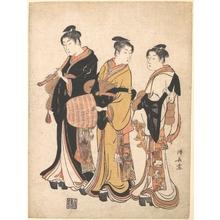 鳥居清長: Three Young Women Masquerading as Komuso (Strolling Minstrel) - メトロポリタン美術館