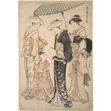 鳥居清長: Two Women in Summer Costume Taking a Young Girl to a Shinto Temple for the Miya Mairi Ceremony - メトロポリタン美術館
