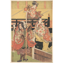 Torii Kiyonaga: On a Balcony a Woman is Seated Playing a Tsuzumi, below a Man in Daimyo Costume is Seated upon a Black Lacquer Box - Metropolitan Museum of Art