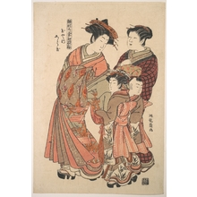 Isoda Koryusai: An Oiran Accompanied by a Servant and a Boy and Girl Attendant - Metropolitan Museum of Art