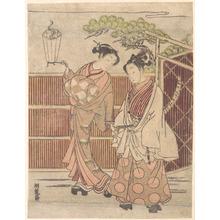 Isoda Koryusai: Reizei Carrying a Teshoku (Hand Lantern) - Metropolitan Museum of Art