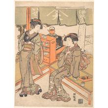 磯田湖龍齋: At the Ise-ya Tea-house - メトロポリタン美術館