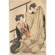 磯田湖龍齋: Two Beauties Looking at Kimono - メトロポリタン美術館