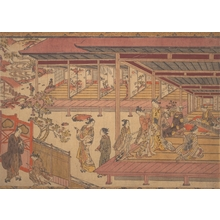 Okumura Masanobu: A Man Standing Outside the Gate of a Large House - Metropolitan Museum of Art