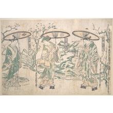 Okumura Masanobu: Triptych of Umbrellas - Metropolitan Museum of Art