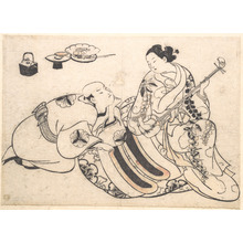 Okumura Masanobu: A Man in a Kneeling Posture Bending Forward and Listening to an Oiran who is Playing the Shamisen - Metropolitan Museum of Art