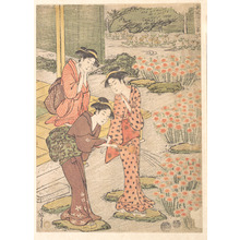 Keisai: Three Young Women in a Garden where Nadeshiko Pinks are Growing - Metropolitan Museum of Art
