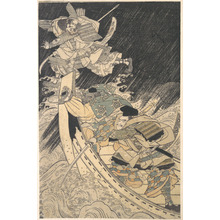 Keisai: Minamoto Yoshitsune and His Retainer, the Monk Benkei, Putting to Flight the Ghost of Taira no Tomomori - メトロポリタン美術館