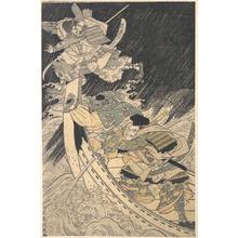 Keisai: Minamoto Yoshitsune and His Retainer, the Monk Benkei, Putting to Flight the Ghost of Taira no Tomomori - Metropolitan Museum of Art