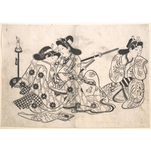 杉村治兵衛: Samurai and Courtesan Seated; A Servant Beside Them - メトロポリタン美術館
