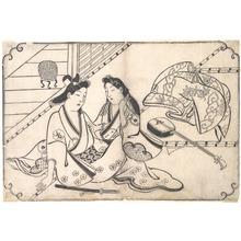 菱川師宣: Two Lovers - メトロポリタン美術館