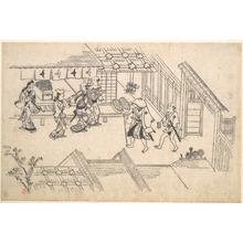 菱川師宣: Street scene in the Yoshiwara - メトロポリタン美術館